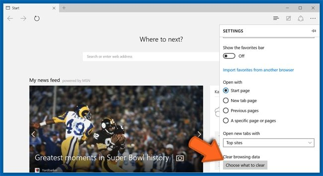 Microsoft Edge browser settings reset step 2