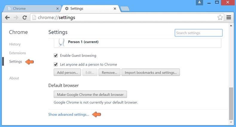 Ripristino Google Chrome impostazione predefinita - le impostazioni di accesso
