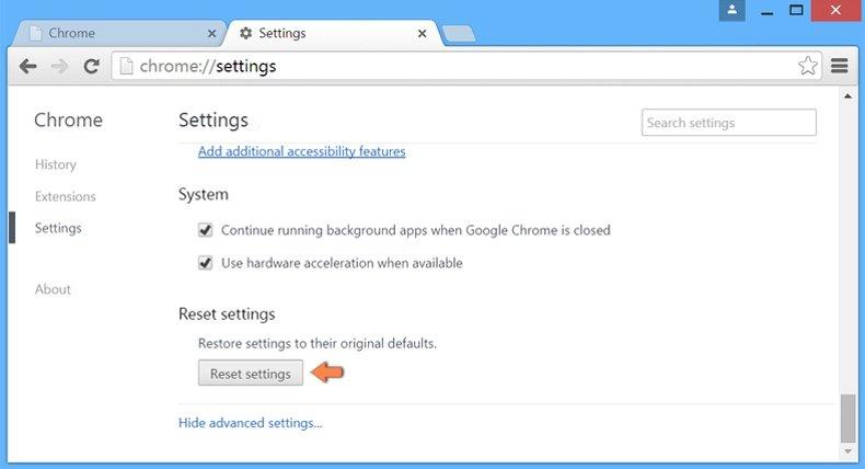 Ripristino delle impostazioni predefinite per Google Chrome - impostazioni avanzate