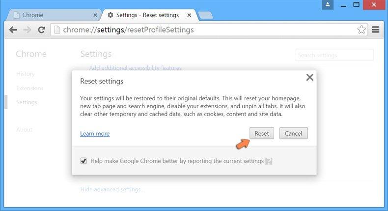 Ripristino delle impostazioni di Google Chrome to default - di confermare che si desidera ripristinare le impostazioni predefinite di Chrome facendo clic sul pulsante Ripristina