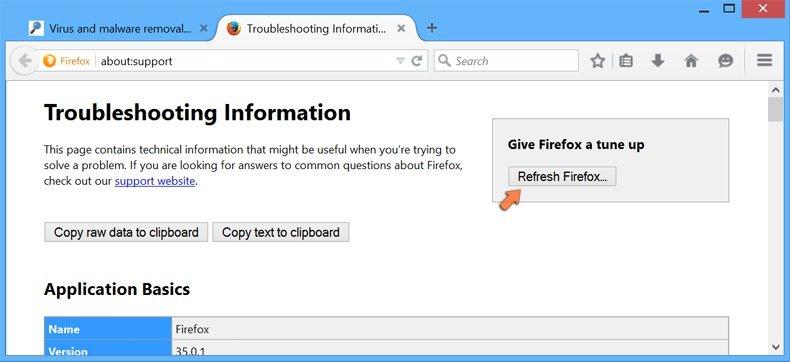 Ripristino delle impostazioni di Mozilla Firefox per impostazione predefinita - cliccando sul