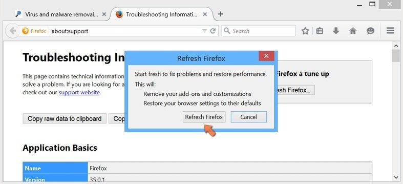 Ripristino delle impostazioni di Mozilla Firefox per impostazione predefinita - le impostazioni confermando ripristinare facendo clic sul