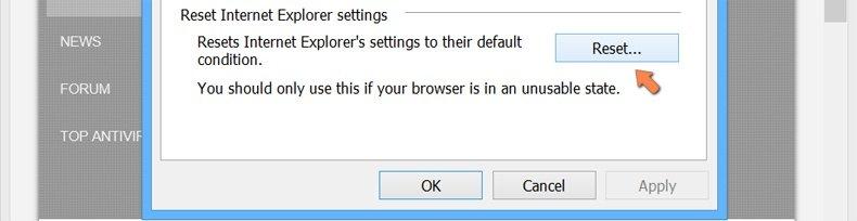 Ripristino delle impostazioni di Internet Explorer di default su Windows 8 - Fare clic sul pulsante Ripristina nella scheda Opzioni Internet avanzato