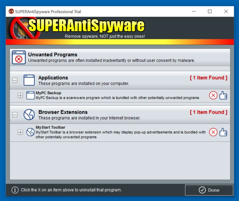 supersntispyware uninstall pup