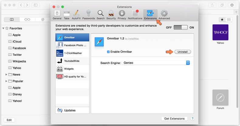 Come rimuovere browser hijacker da Safari 2