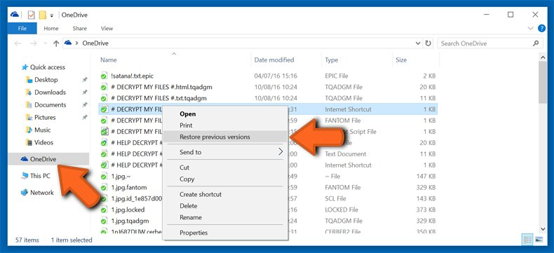 onedrive restore previous versions
