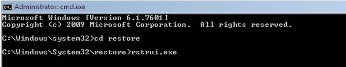 ripristino del sistema con il comando rstrui.exe