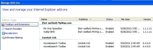 my way search toolbar rimozione da internet explorer