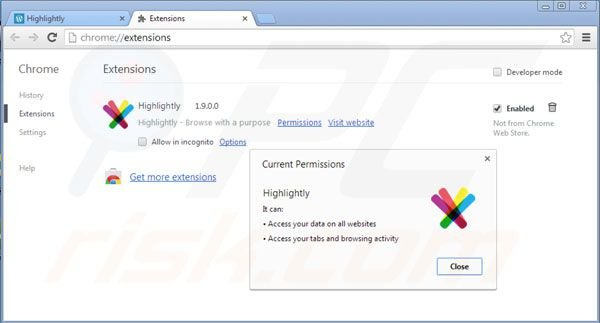 Rimuovere Highlightly dalle estensioni di Google Chrome step 2
