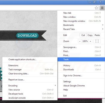 Rimuovere Rocket tab ads da Google Chrome step 1