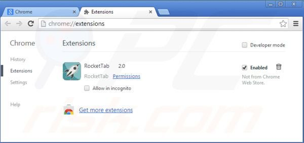 Rimuovere Rocket tab ads da Google Chrome step 2