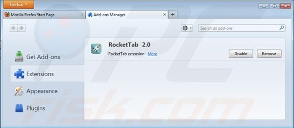 Removing Rocket tab ads from Mozilla Firefox step 2