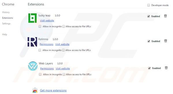 Superweb plugins rimozione da Google Chrome step 2