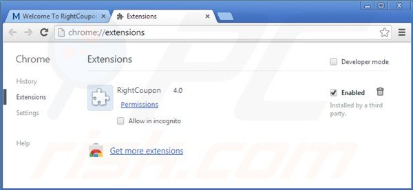 Rimuovere ads by right coupon da Google Chrome step 2