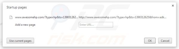 Rimuovere awesomehp.com homepage da Google Chrome