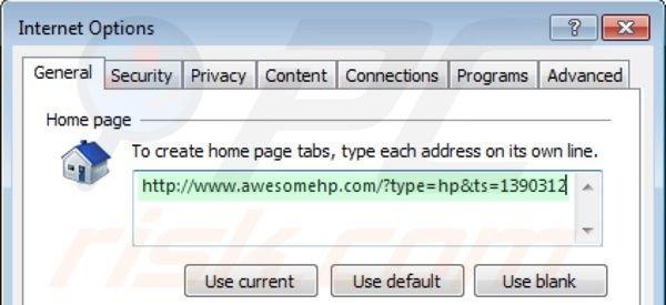 Rimuovere awesomehp.com dalla homepage di Internet Explorer