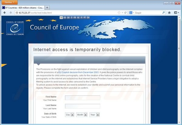 Council of Europe ransomware virus