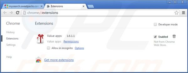 Rimuovere mysearch.sweetpacks.com dalle estensioni di Google Chrome