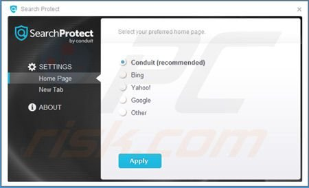 Search Protect by Conduit simpostazioni