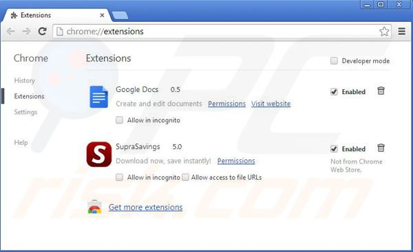 Rimuovere RR Savings da Google Chrome step 2
