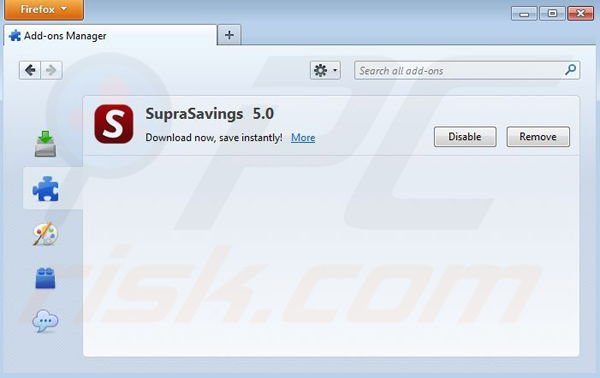 Rimuovere RR Savings da Mozilla Firefox step 2