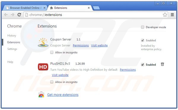 Rimuovere Online Advertising Support ads da Google Chrome step 2