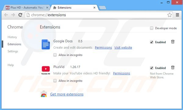 Rimuovere PlusVid da Google Chrome step 2
