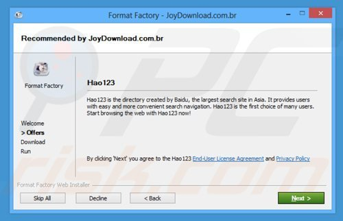 hao123.com browser hijacker installer