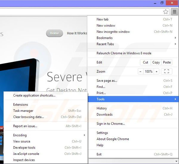 Rimuovere Severe Weather Alerts da Google Chrome step 1