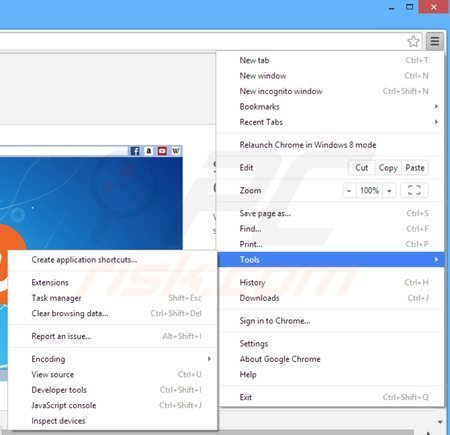 Rimuovere Web Bar da Google Chrome step 1