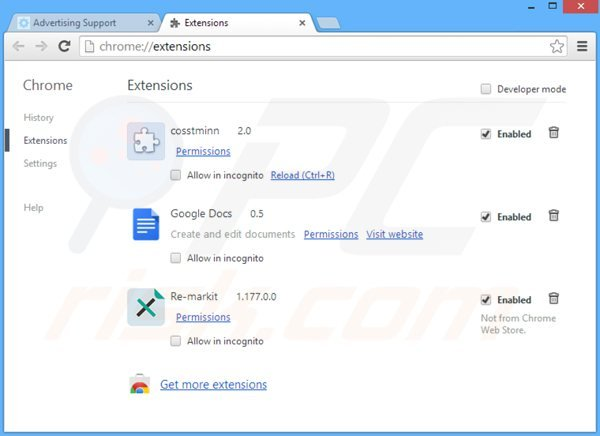 Rimuovere Web Bar da Google Chrome step 2