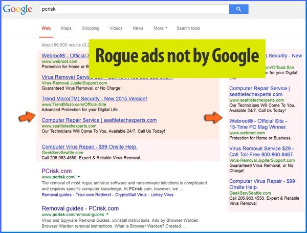 Rogue ads appearing in Google search results - caused by adware
