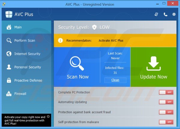 avc plus falso antivirus