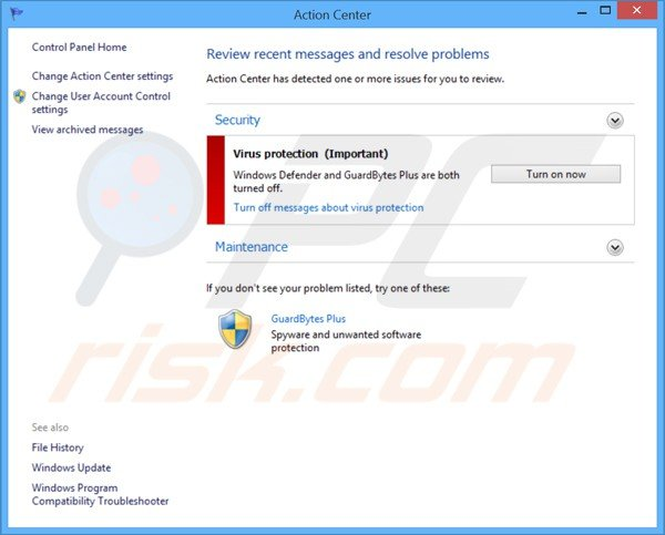 GuardBytes Plus mostra un falso Windows Action Center