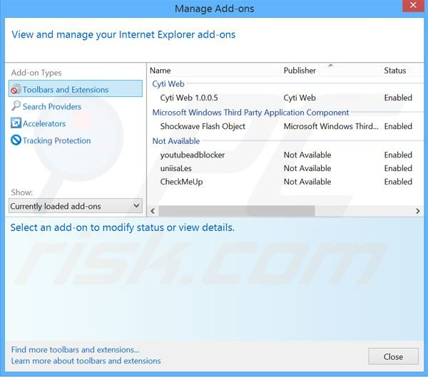 Rimuovere Browser Extension adware da Internet Explorer step 2