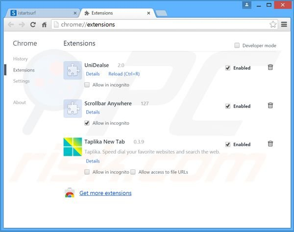 Rimuovere Safer Browser adware da Google Chrome step 2