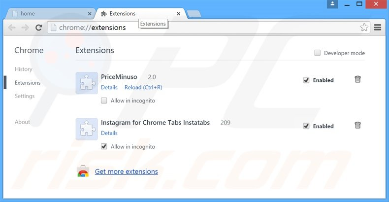Rimuovere PriceMinus adware da Google Chrome step 2