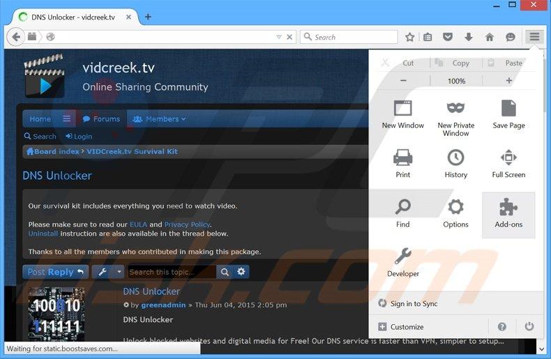 RimuovereDNS Unlocker adware da Mozilla Firefox step 1
