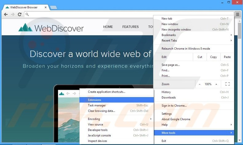 Rimuovere webdiscover da Google Chrome step 1