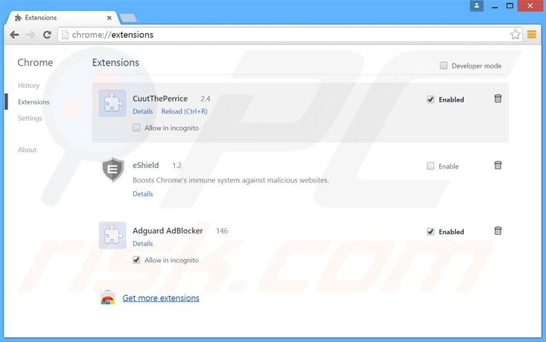 Rimuovere webdiscover da Google Chrome step 2