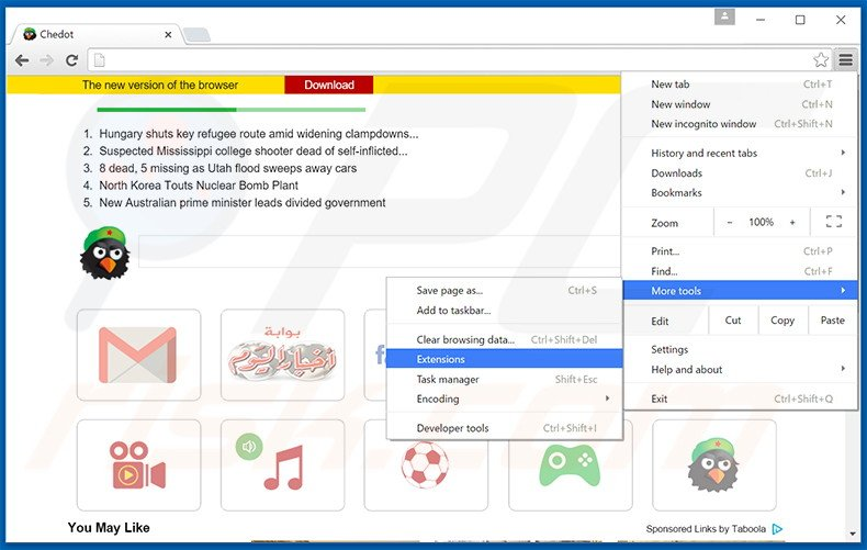 Rimuovere Chedot Browser adware da Google Chrome step 1