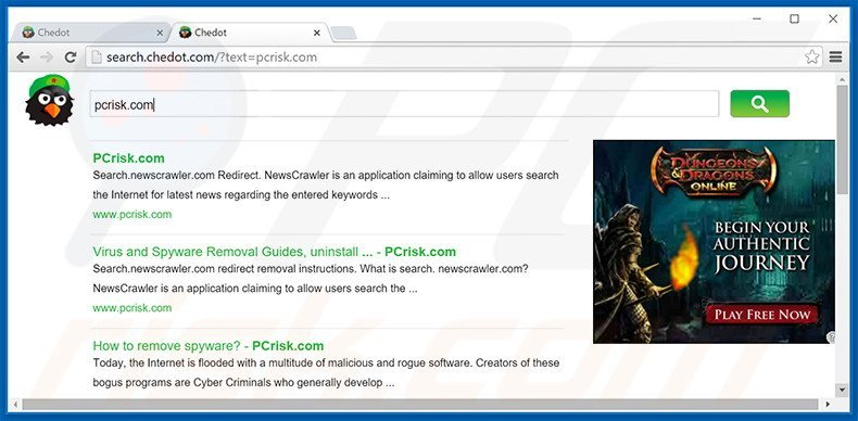 Chedot Browser Browser redirecting users to search.chedot.com