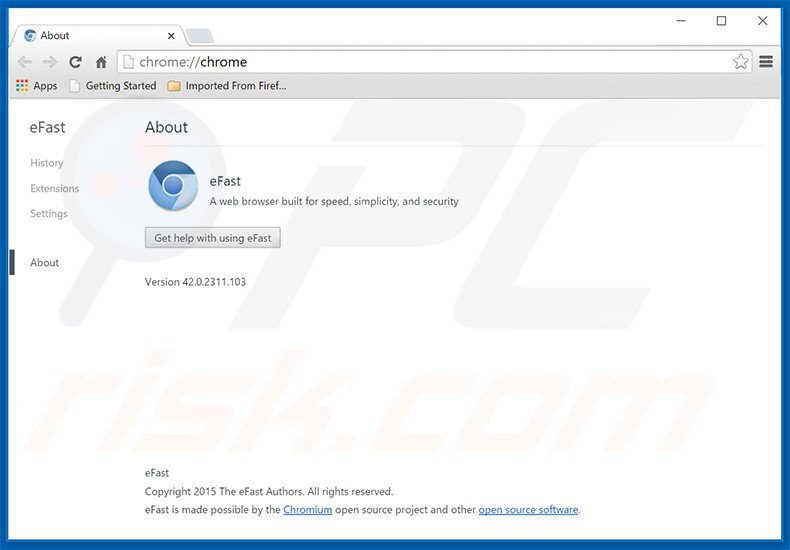 Delusive adware-type application eFast Browser