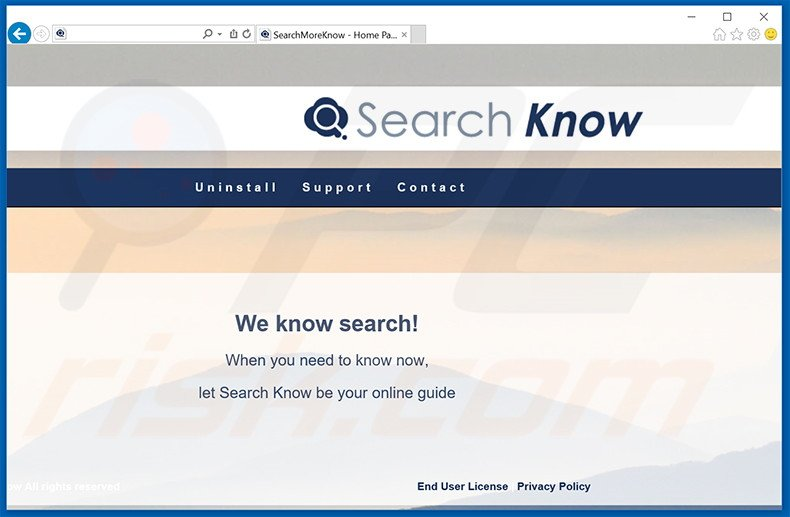 Website used to promote Search Know adware (sample 1)
