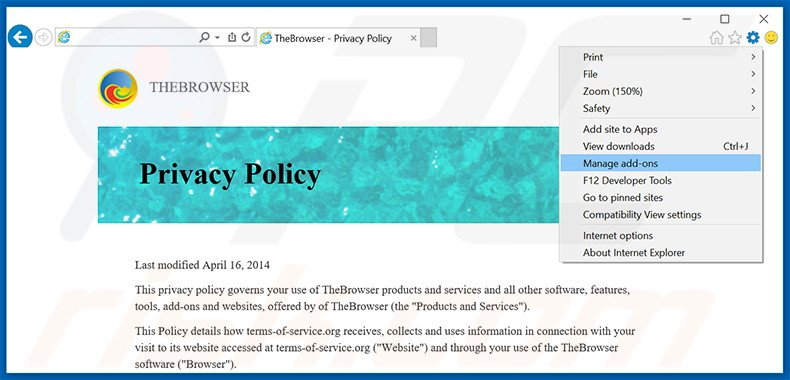 Rimuovere TheBrowser adware da Internet Explorer step 1