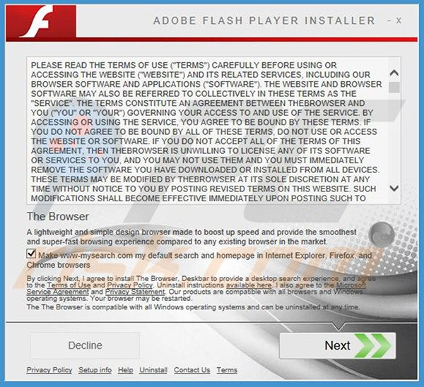 Official TheBrowser adware installation setup