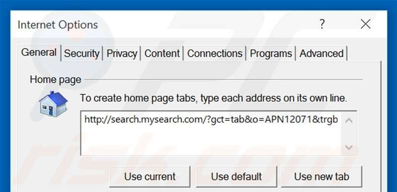 Removing search.mysearch.com from Internet Explorer homepage