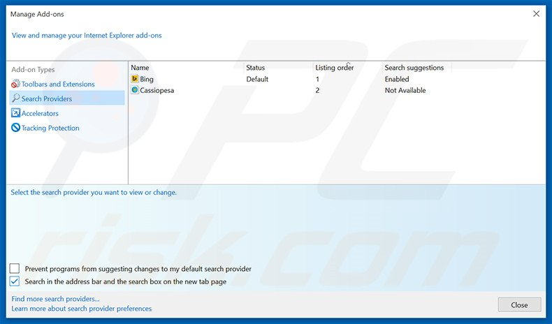 Removing search.mysearch.com from Internet Explorer default search engine