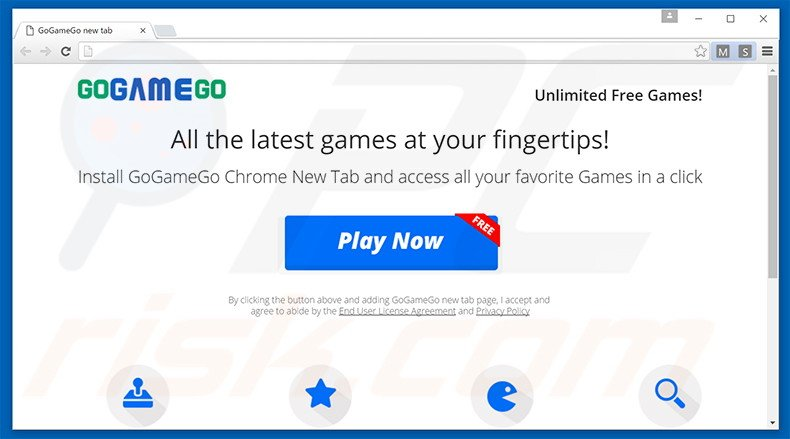 GoGameGo browser hijacker promoting website