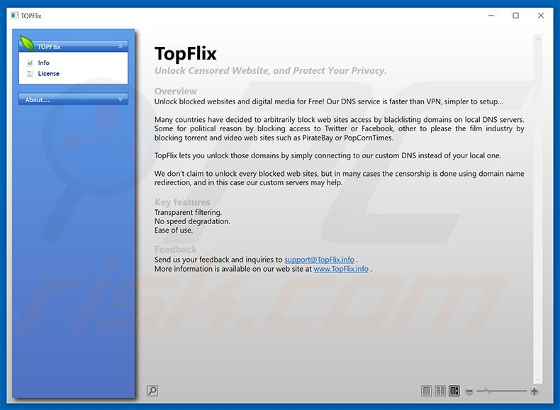 Deceptive adware-type program TopFlix